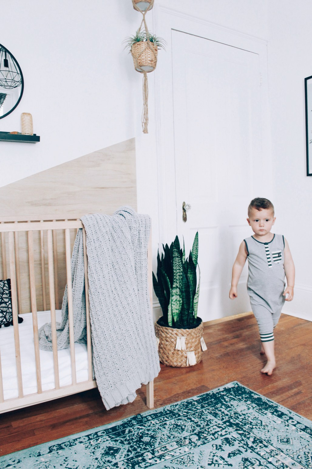 Playful boys room in neutrals and turquoise with vintage details