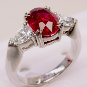 4.03 ct Ruby and Diamond Ring in Platinum