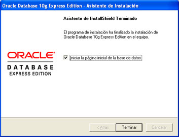 Instalar Oracle Database 10g Express Edition - Fin de la instalación