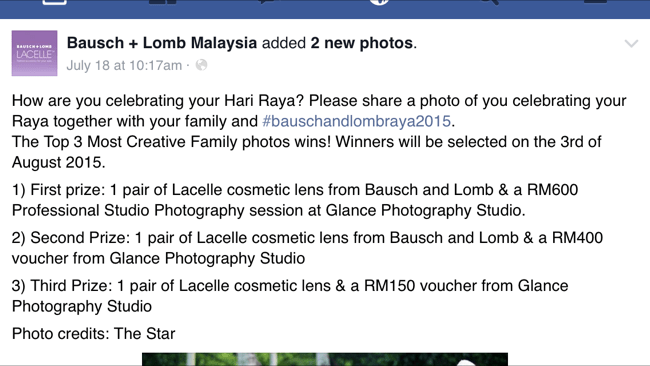 Menang contest Bausch + Lomb Malaysia