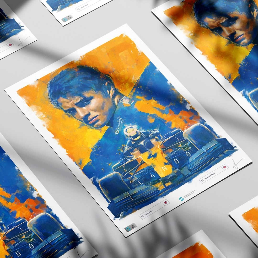 Lando Norris Formula 1 Wall Art F1 Poster displayed in a group