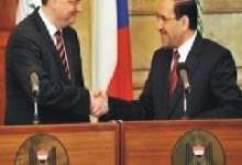 صورة المالكي يبحث مع نظيره التشيكي توقيع اتفاقية اقتصادية بين البلدين