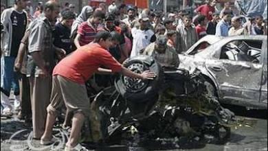 صورة انفجار سيارة مفخخة في الحي الصناعي بالكوت