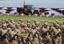 """صورة لأول مرة منذ الأزمة الخليجية قطر تشارك في أختتام فعاليات """"درع الخليج 1"""""""