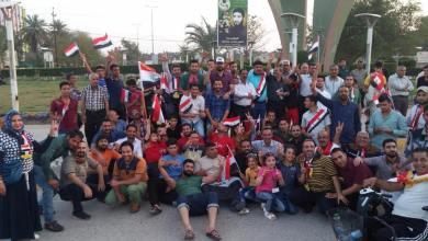 صورة نشطاء يحشدون للتظاهر امام منزل قائد عمليات البصرة، في مدينة الديوانية