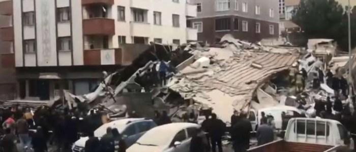 ضحايا بانهيار مبنى مؤلف من 7 طوابق في إسطنبول!