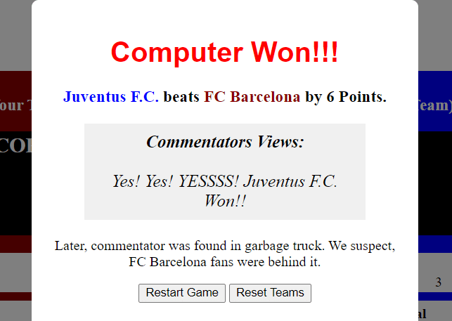 popup to show final results