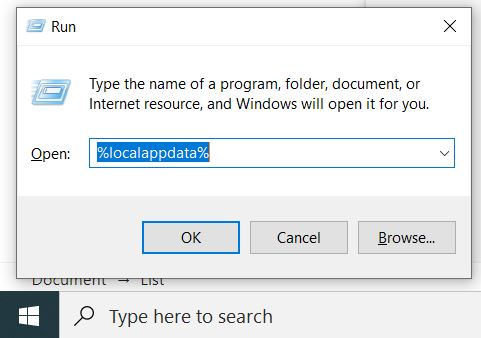 find localappdata from run utility