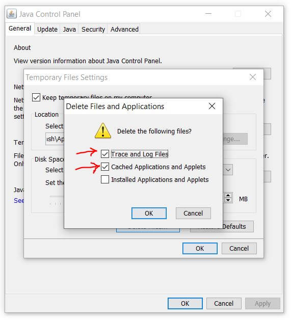 delete files and applications window to clear java cache