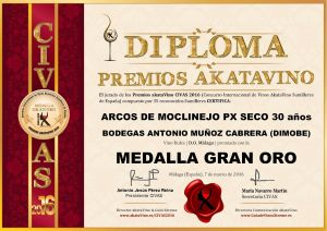Arcos de Moclinejo PX Seco Diploma Medalla GRAN ORO CIVAS 2016 © akataVino.es