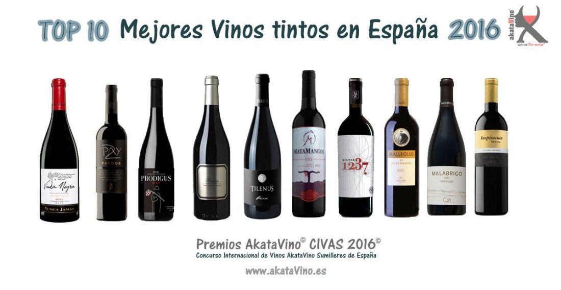 Cartel Los 10 Mejores Vinos Tintos 2016 en España by akataVino