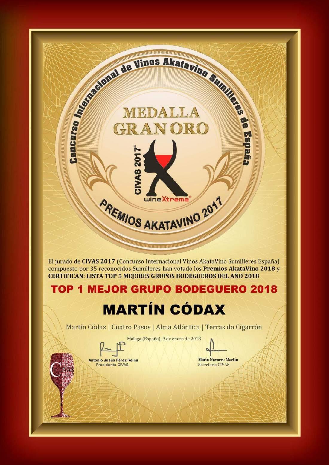 Martín Códax Diploma Mejor Grupo Bodeguero 2018 © Premios AkataVino