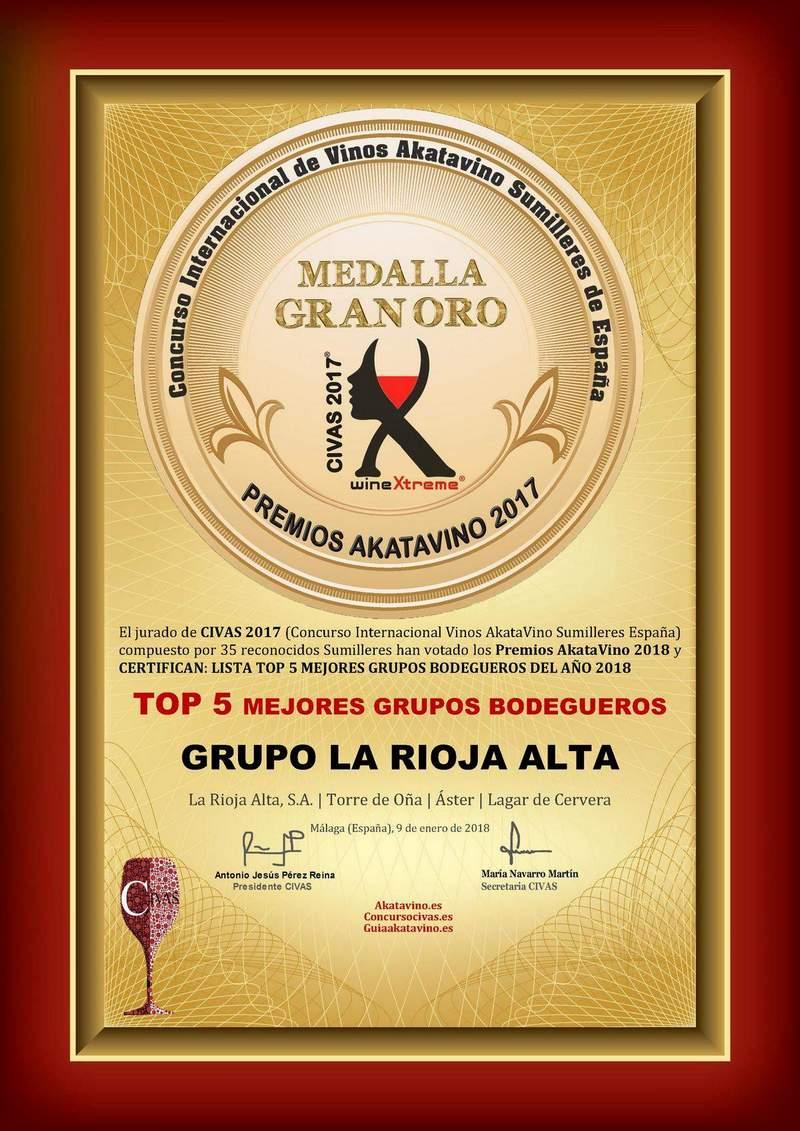 La Rioja Alta Diploma TOP 5 Mejores Grupos Bodegueros del año 2018 © Premios AkataVino