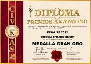 Erial TF 2012 Diploma Medalla GRAN ORO CIVAS 2016 © akataVino.es