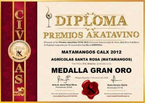 Matamangos Calx 2012 Diploma Medalla GRAN ORO CIVAS 2016 © akataVino.es