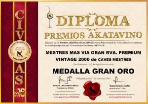Mestres Mas Via 2000 Diploma Medalla GRAN ORO CIVAS 2016 © akataVino.es