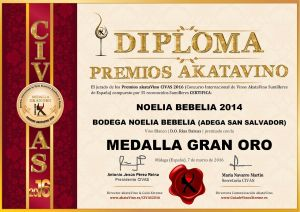 Noelia Bebelia 2014 Diploma Medalla GRAN ORO CIVAS 2016 © akataVino.es