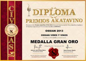 Ossian 2013 Diploma Medalla GRAN ORO CIVAS 2016 © akataVino.es