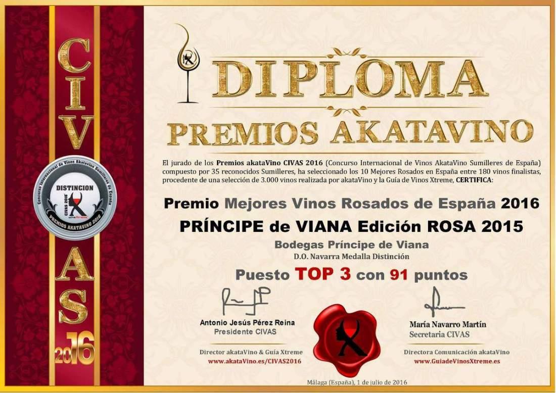 Principe de Viana Ed Rosa 2015 TOP 3 Mejores Rosados 2016 España © Ranking AkataVino