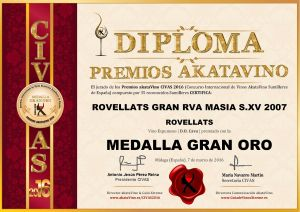 Rovellats Masia S.XV 2007 Diploma Medalla GRAN ORO CIVAS 2016 © akataVino.es