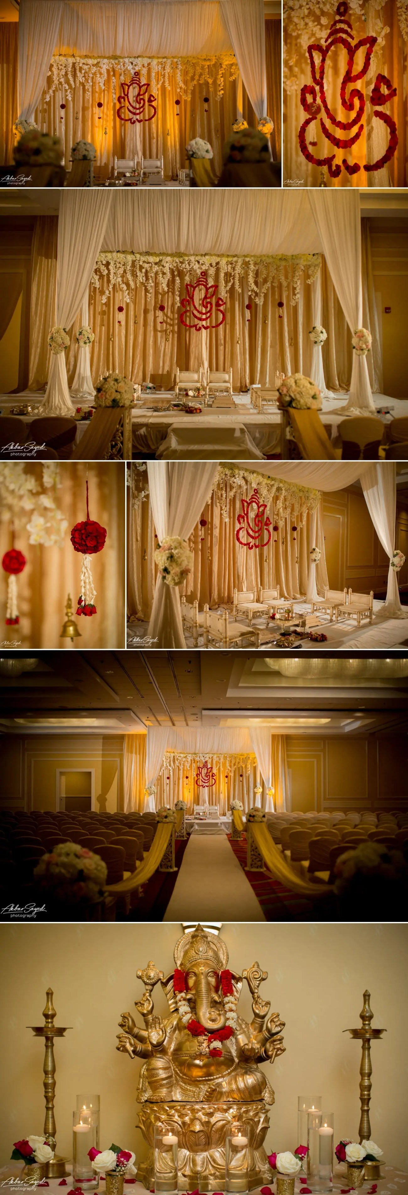 A photo collage of Indian wedding decor at The BWI Marriott in Linthicum, Maryland.