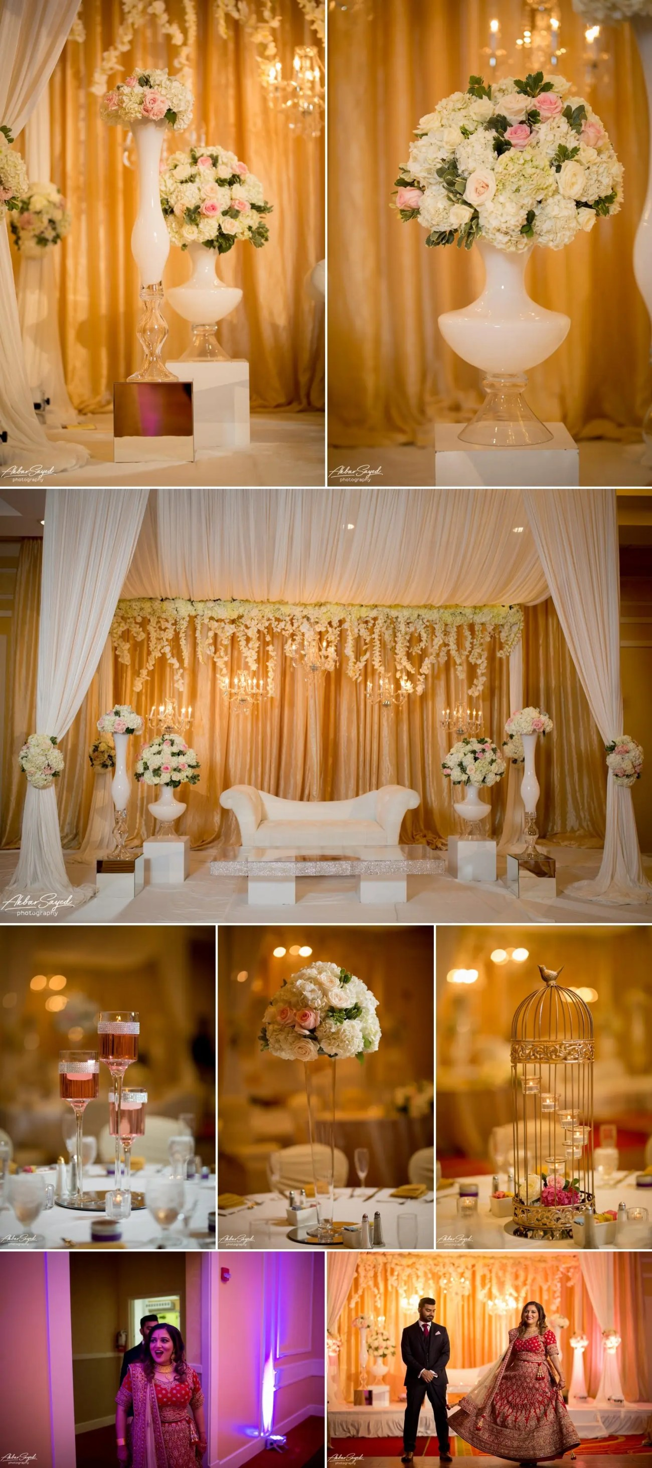 A photo collage of South Asian Hindu wedding decor created by L'Ambiance wedding decor at the BWI Marriott.