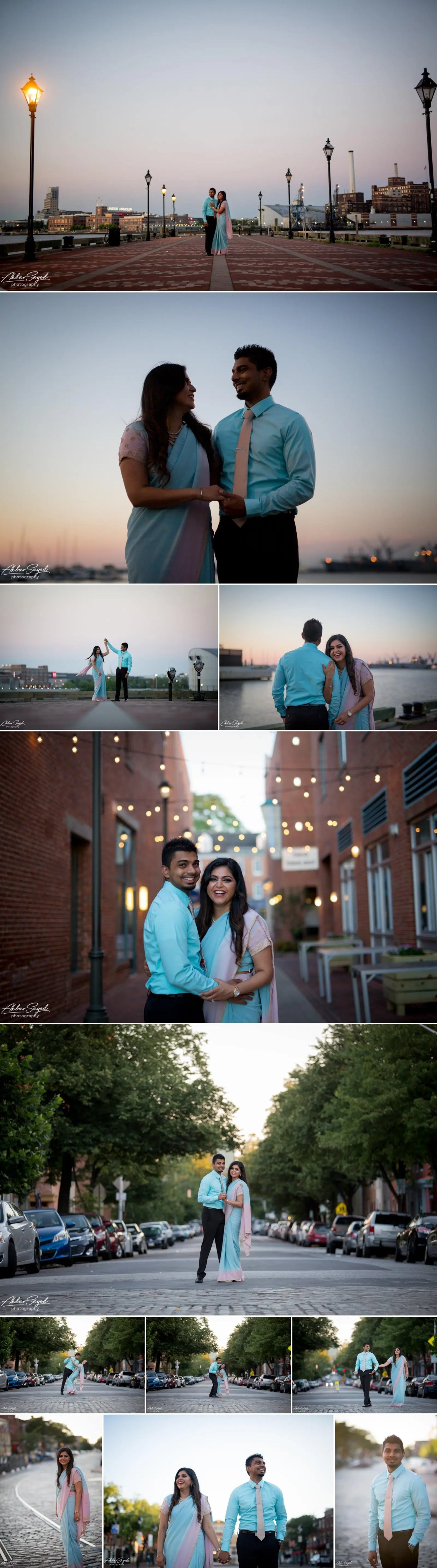 A photo collage of a Sikh and Hindu fusion couple on their engagement session in Fells Point, Baltimore, Maryland.