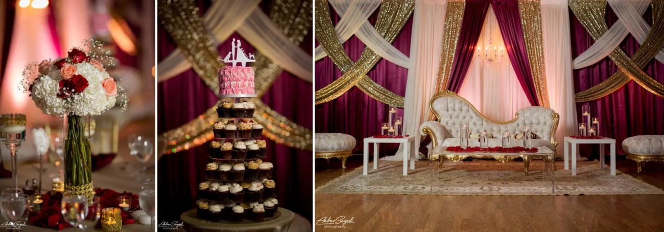A photo collage of a couple during their Indian wedding reception at The Villa in Silver Spring.