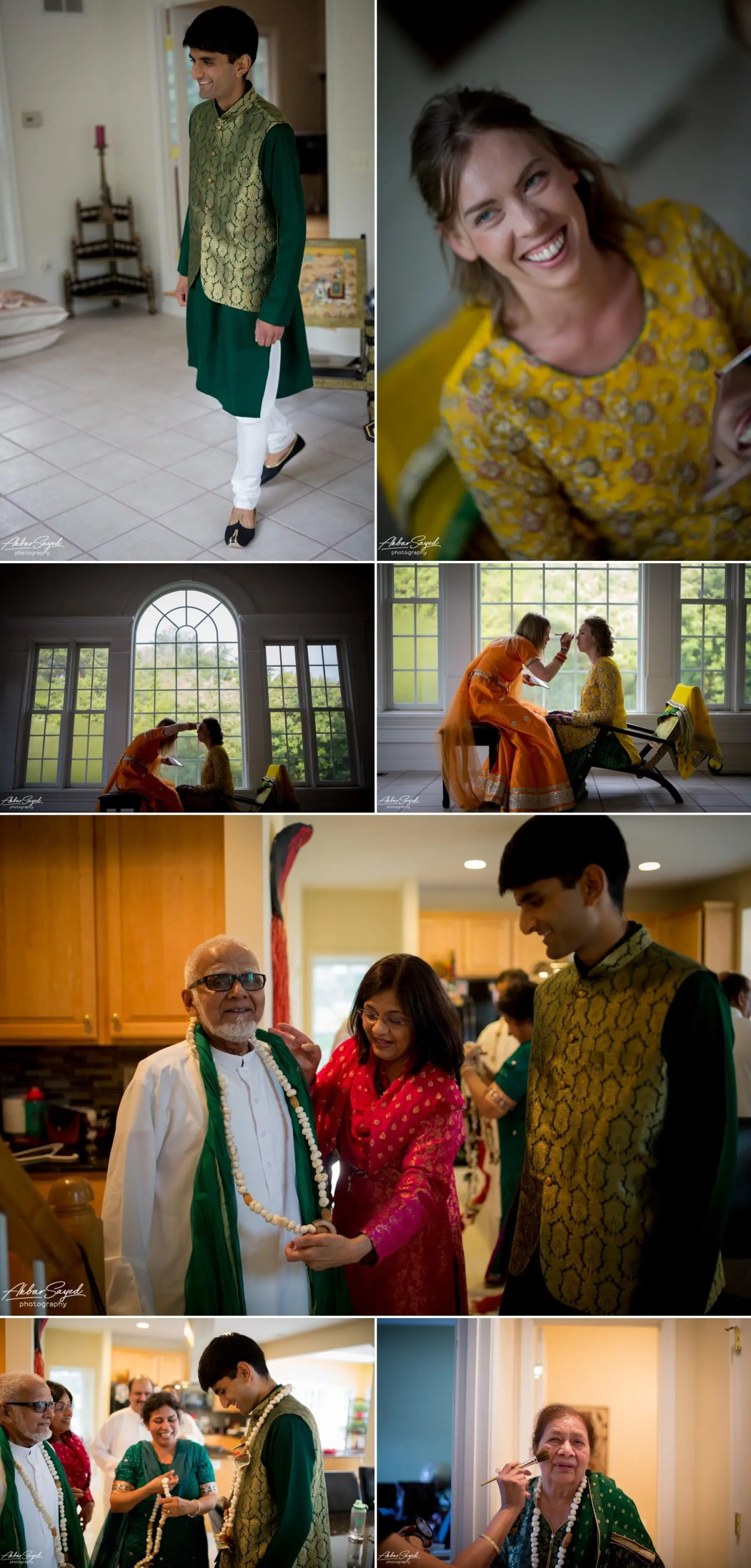 A photo collage of a Pakistani - American couple at their Mehndi in Chantilly, Virginia.