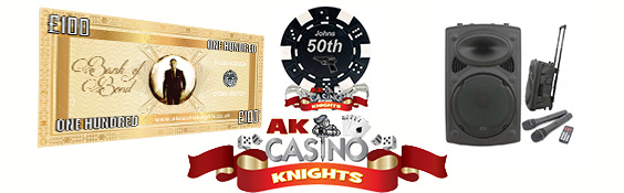 A K Casino Knights Bond personalised chips and fun money