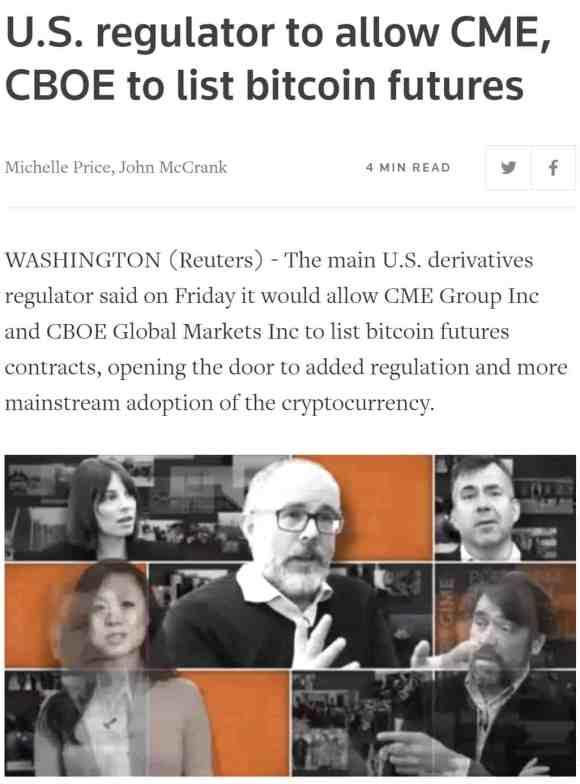 Reuters pozytywne wiadomości Bitcoin