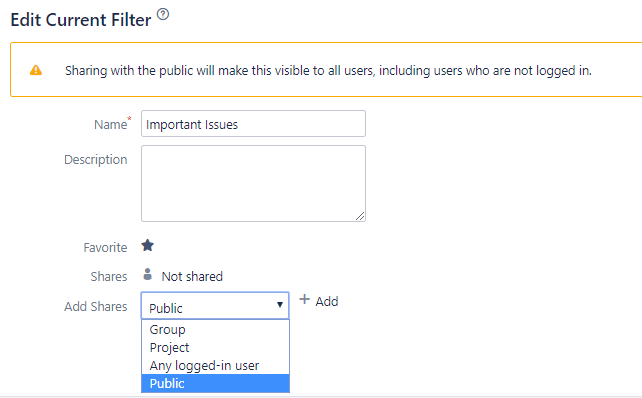 Edit Jira filter screen