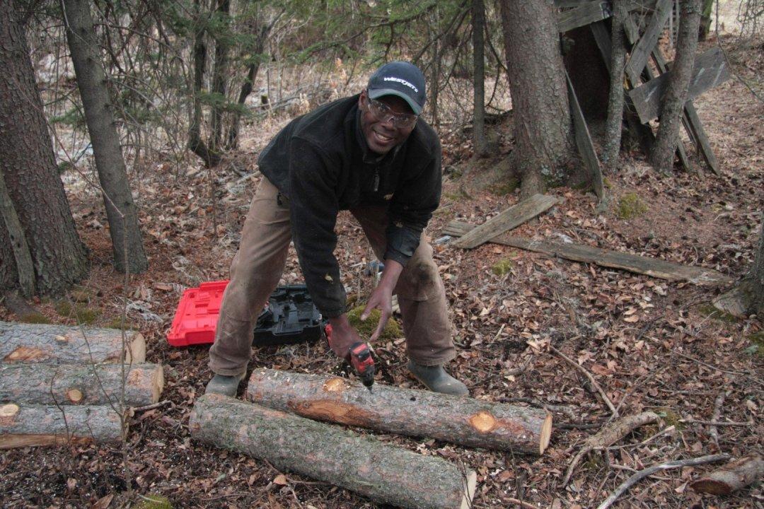 Kwesi and spruce logs