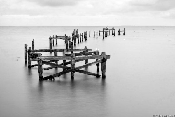 Old Swanage Pier - B&W
