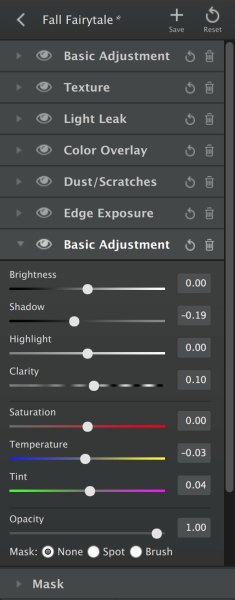 Example of Topaz Texture Effects Adjustments Toolbar