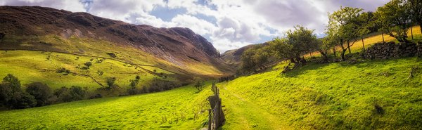 Panorama looking down Scope Beck Valley towards Hindscarth (Summer Look)