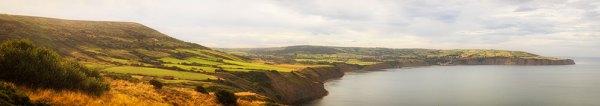 Sunlit Robin Hoods Bay Panorama
