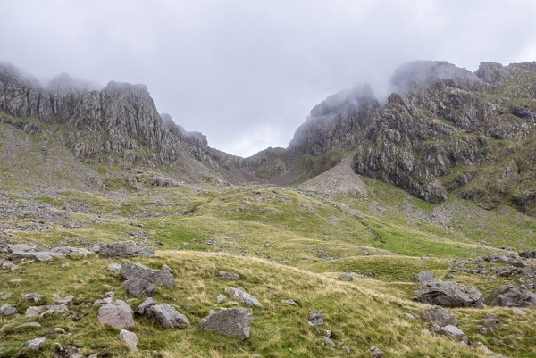 Scafell from Hollow Stones under cloud
