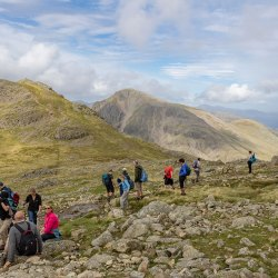 Looking across with walkers to Lingmell