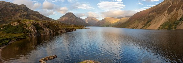Wastwater lake and moutains panorama