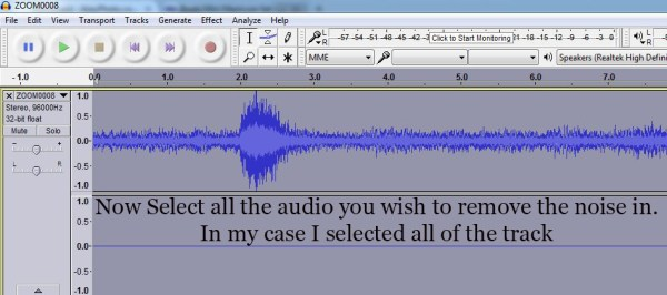 Select the audio you want to clean up the noise in.