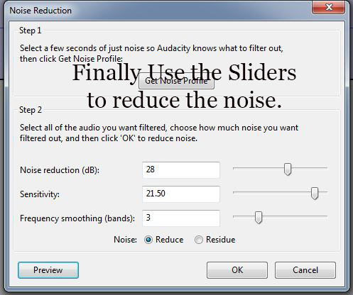 Use the Sliders in Step 2 to reduce the noise