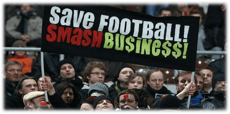 St Pauli fans display a banner reading: Save Football Smash Busine$$