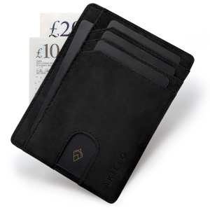 Black RFID blocking credit card holder wallet minimalist card wallet