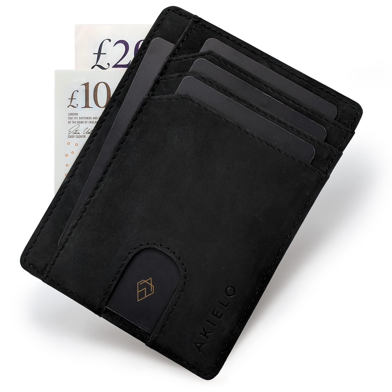 Black RFID blocking credit card holder wallet minimalist card wallet