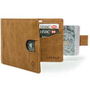 Tan Bifold Mens Wallet Card Wallet Holder with pull tab
