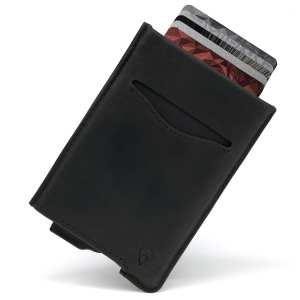 Black RFID blocking credit card holder wallet pop up leather card holder like Andar Pilot Wallet