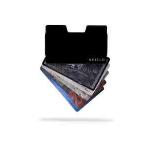 Black metal card holder ridge wallet expandable wallet