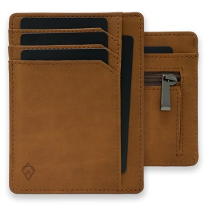 Tan RFID blocking credit card holder wallet with Zip Wallet