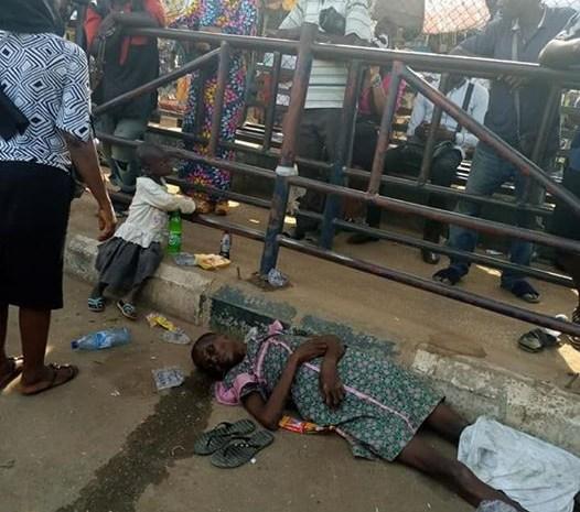 Nigerian Woman Slumps And Dies At Ikotun BRT Bus Station In Lagos (Photos)